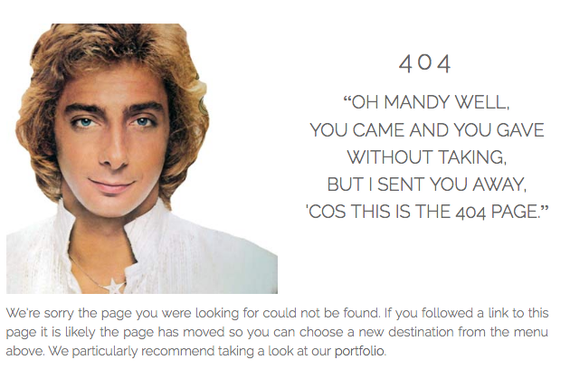 Happy birthday Barry Manilow! Thanks for inspiring our 404 page