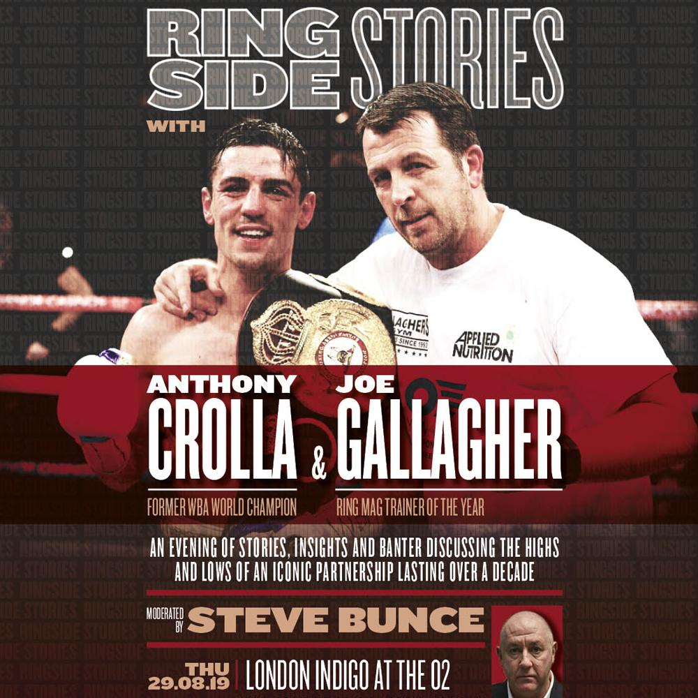 Just announced: Former World Lightweight Champion @ant_crolla and World Renowned trainer @JoeG are teaming up for #RingsideStories - heading to indigo at The O2 this August.Get tickets from 10am Friday.More info: http://bit.ly/RingSideStories_indigo…