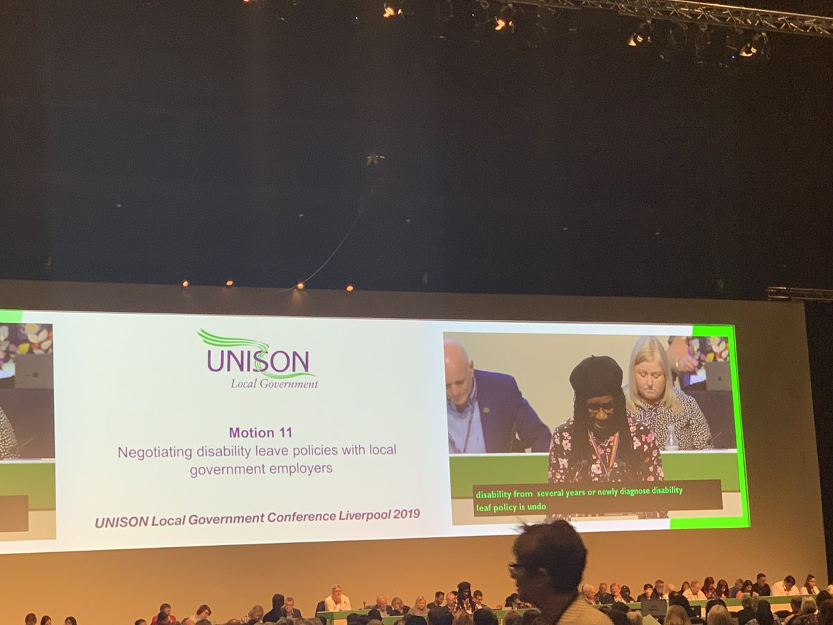 Motion 11 - Negotiating disability leave policies with local government employers is now being debated at #uLGC19 the aim of this motion is to create a level playing field for our #disabled members