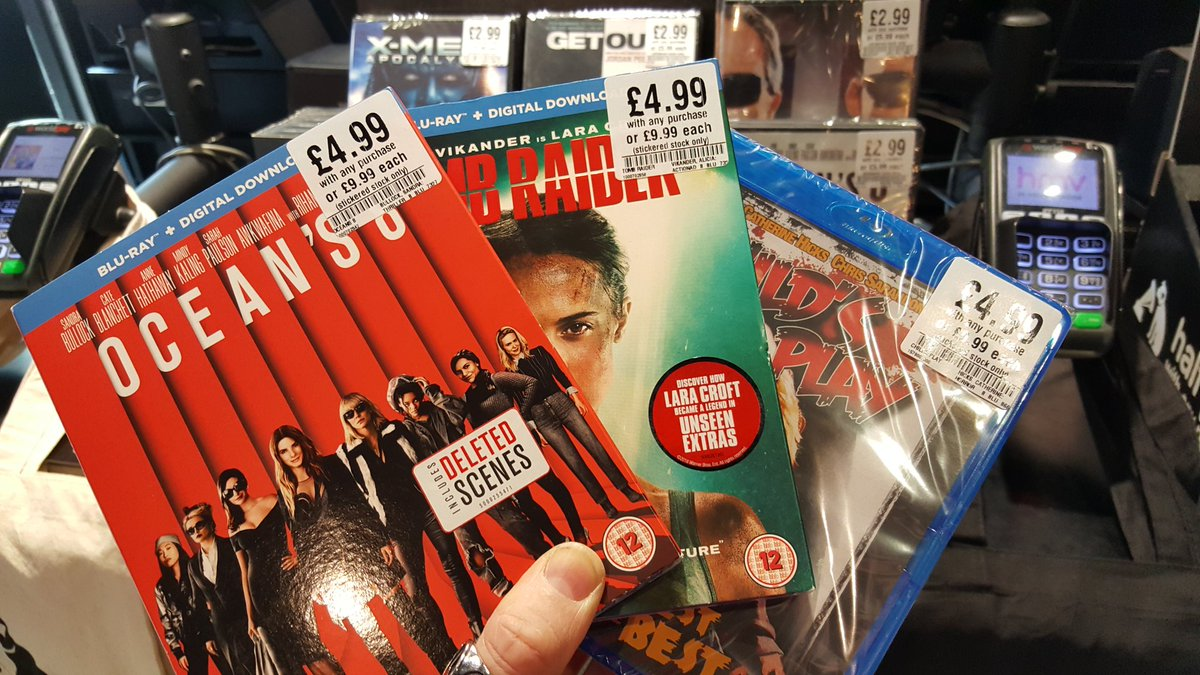 Some great new titles reduced in price on #bluray this morning. Only £4.99 with any purchase in-store. #Oceans8 #TombRaider #ChildsPlay<br>http://pic.twitter.com/yMbI4q9GzC