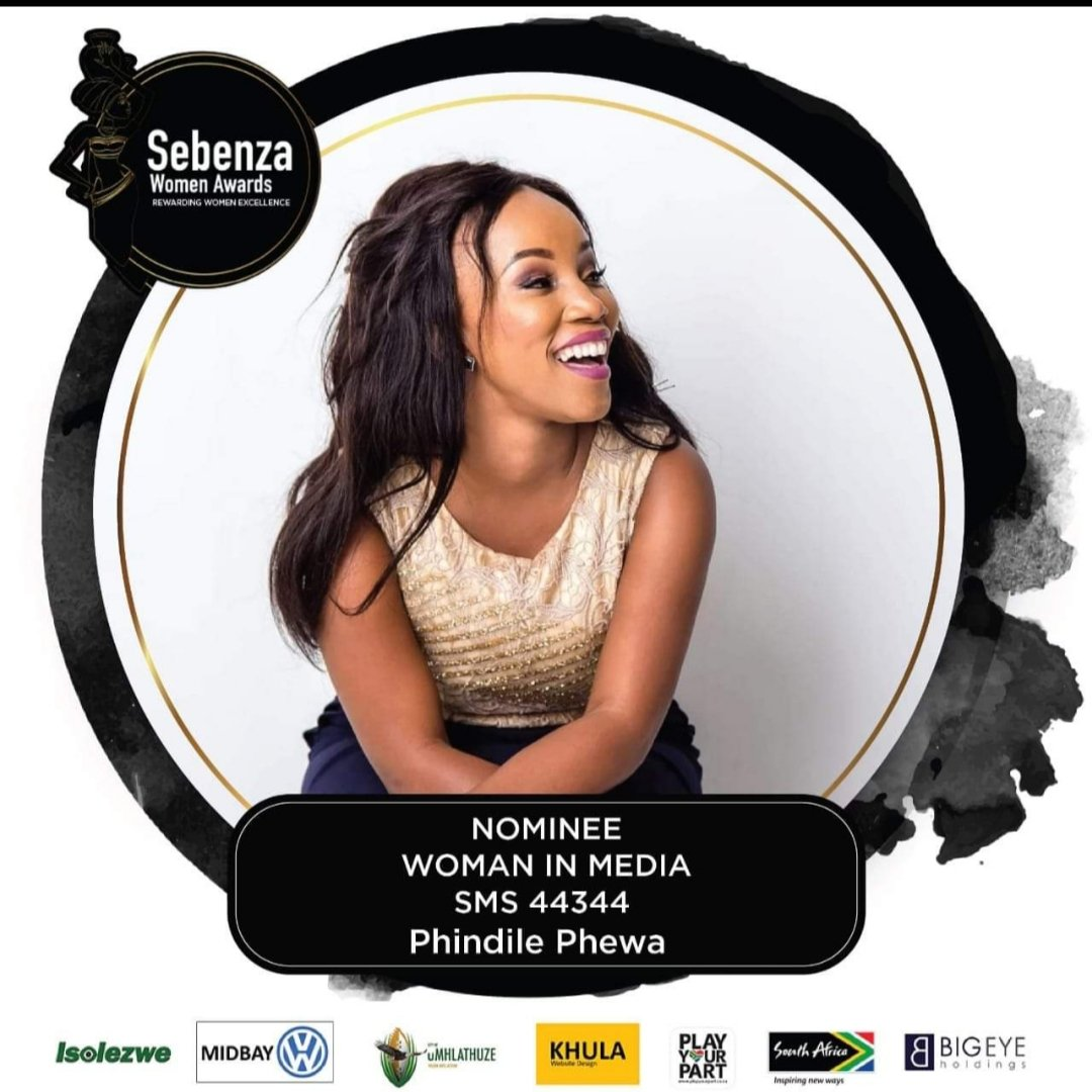 "Im so honoured to be nominated with such great and powerful women. My ""Look at God"" moment.  Friends may you please celebrate this with by voting for me. Send my name and surname to 44344. #SWA2019<br>http://pic.twitter.com/9UWcbGFagk"