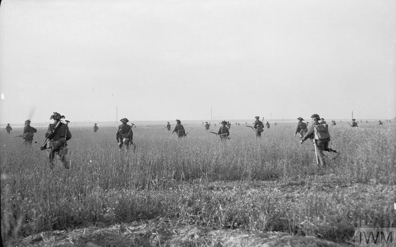 #DDay75: 75 years ago the fighting for Caen was intensifying. These men of the 2/Royal Warwickshire Regiment are seen advancing throught the fields on the outskirts of Caen. It is often forgotten that infantry casualties in Normandy were as high as #WW1. <br>http://pic.twitter.com/Yoc3c6xIuN