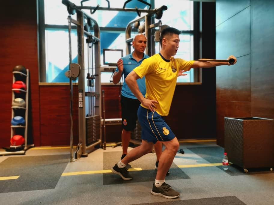 Wu Lei, en el gimnasio (Vía RCD Espanyol).