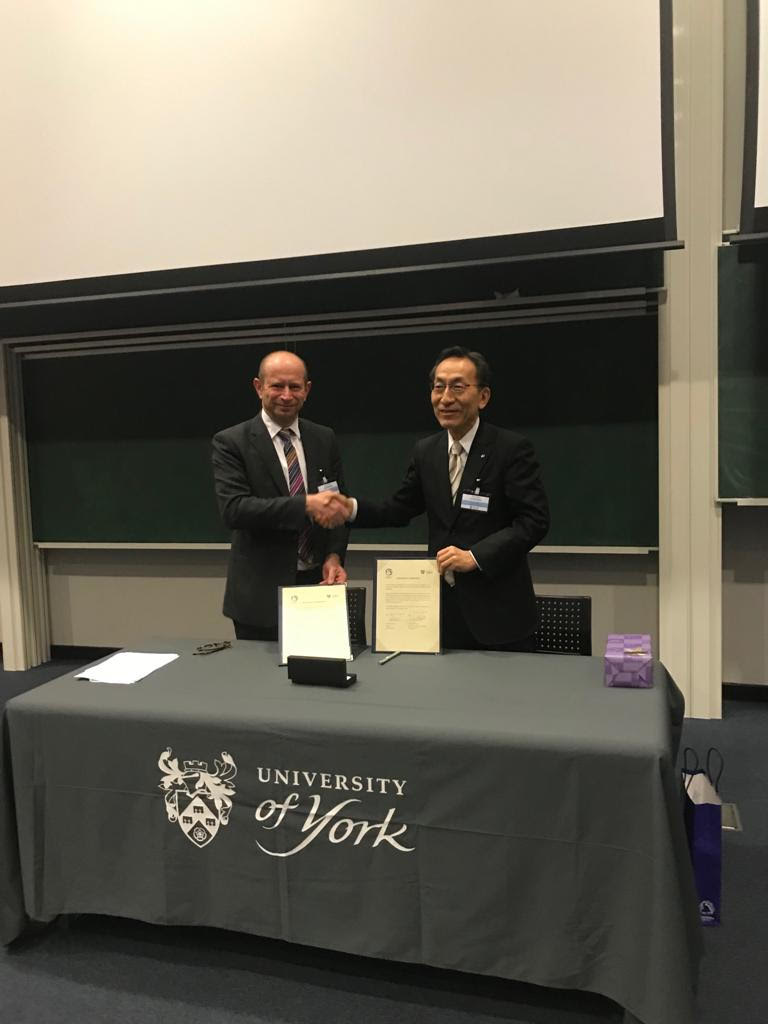 Extremely honoured to welcome The President of @TohokuUniPR and @UniOfYork Acting VC who signed the renewal of our institutional #MoU for even more joint-research in @UoYElecEng and @PhysicsatYork , student exchanges and short courses. @EPSRC @FIRST_Program @UKinJapan