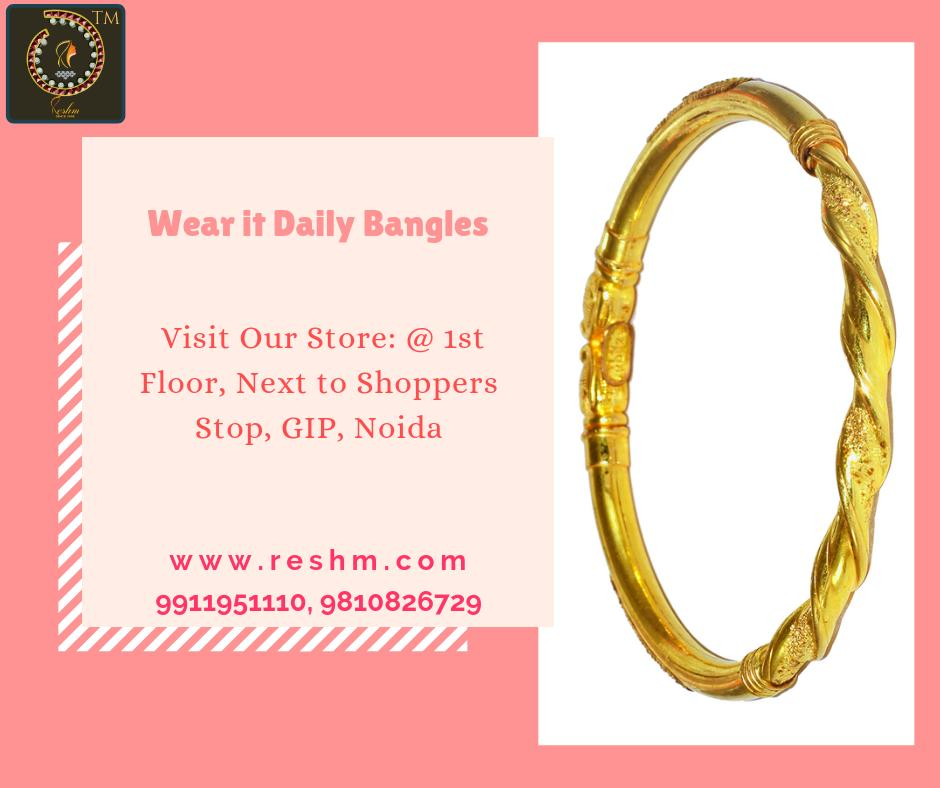 Wear it Daily Bangles by Reshamm Shop now :  or Visit our store @ 1st Floor Next to Shoppers Stop GIP Noida #reshamm #Lightweightgoldjewellery #jewelleryinnoida #jewelleryindelhi #jewelleryinncr #goldlovers #jewelleryfans #fashion #designerjewellery