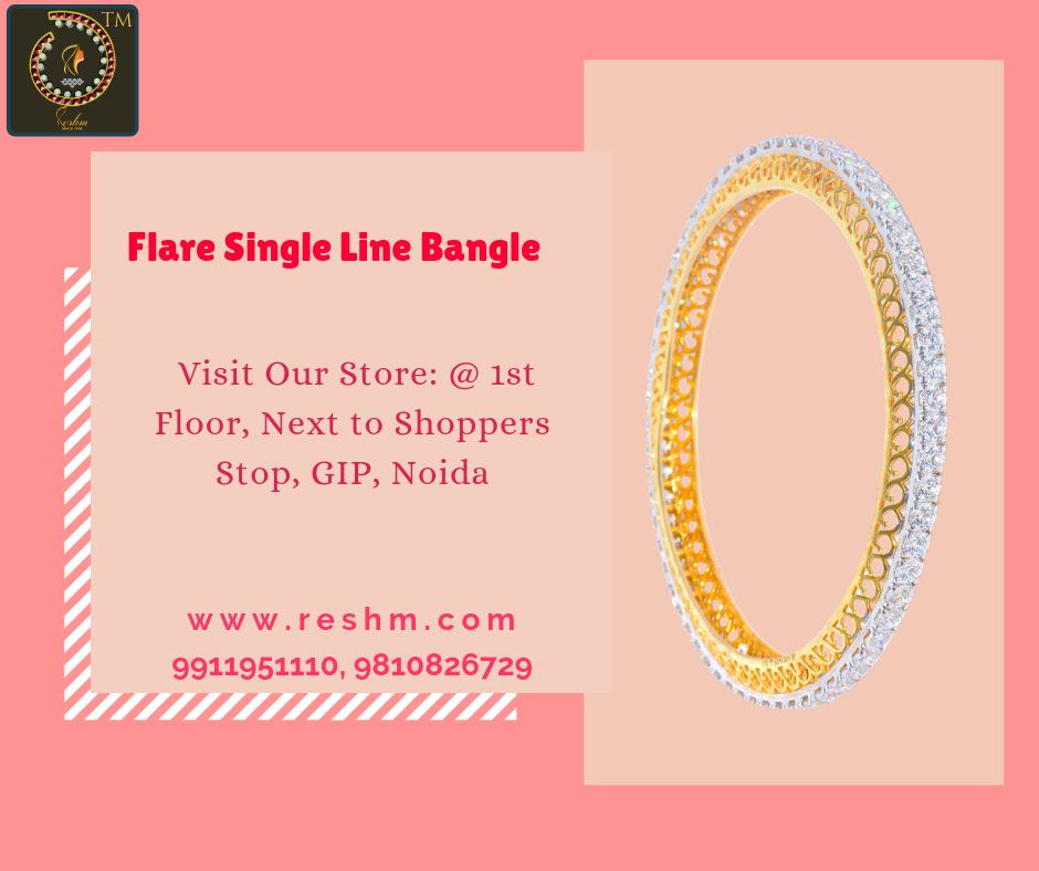 Flare Single Line Bangle by Reshamm Shop now :  or Visit our store @ 1st Floor Next to Shoppers Stop GIP Noida #reshamm #Lightweightgoldjewellery #jewelleryinnoida #jewelleryindelhi #jewelleryinncr #goldlovers #jewelleryfans #fashion #designerjewellery