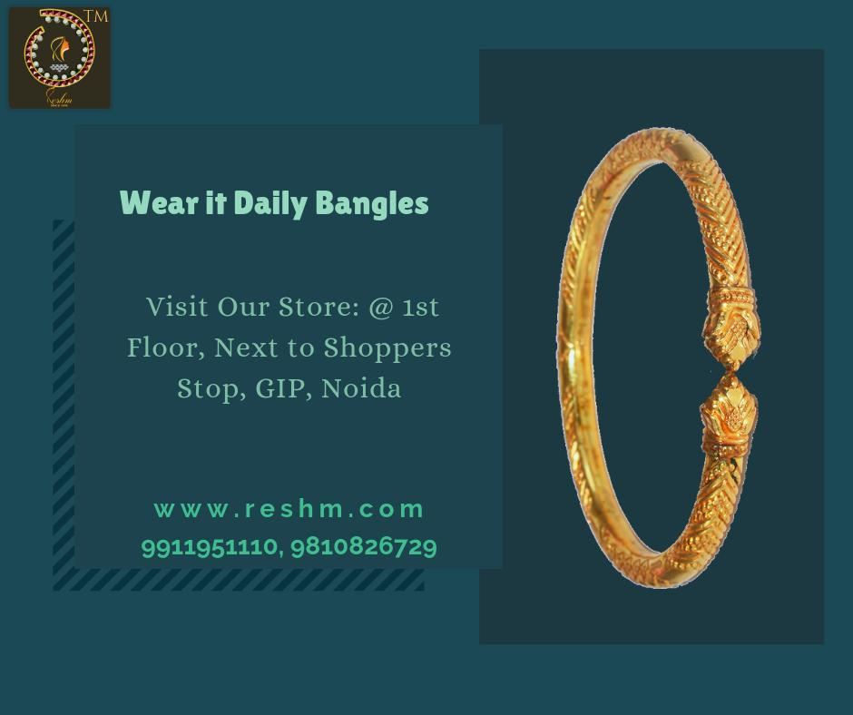 Wear it Daily Gold Bangles by Reshamm Shop now :  or Visit our store @ 1st Floor Next to Shoppers Stop GIP Noida #reshamm #Lightweightgoldjewellery #jewelleryinnoida #jewelleryindelhi #jewelleryinncr #goldlovers #jewelleryfans #fashion #designerjewellery