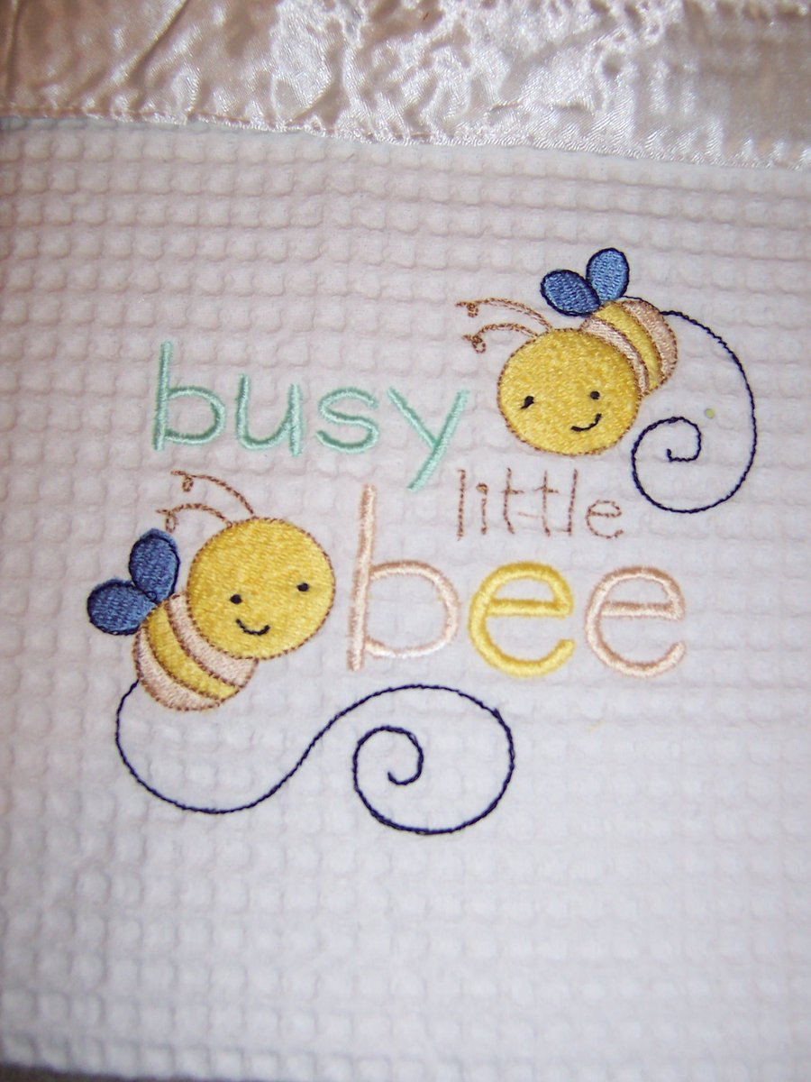 How cute is this baby blanket?  Ria used our Tiny Tots Sentiments at https://www.bunnycup.com/embroidery-design-tiny-tots-sentiments ….    #embroidery #embroiderydesigns #busylittlebee #cutebee #babyblanket #machineembroidery #bunnycup #bunnycupembroidery #babygift #baby
