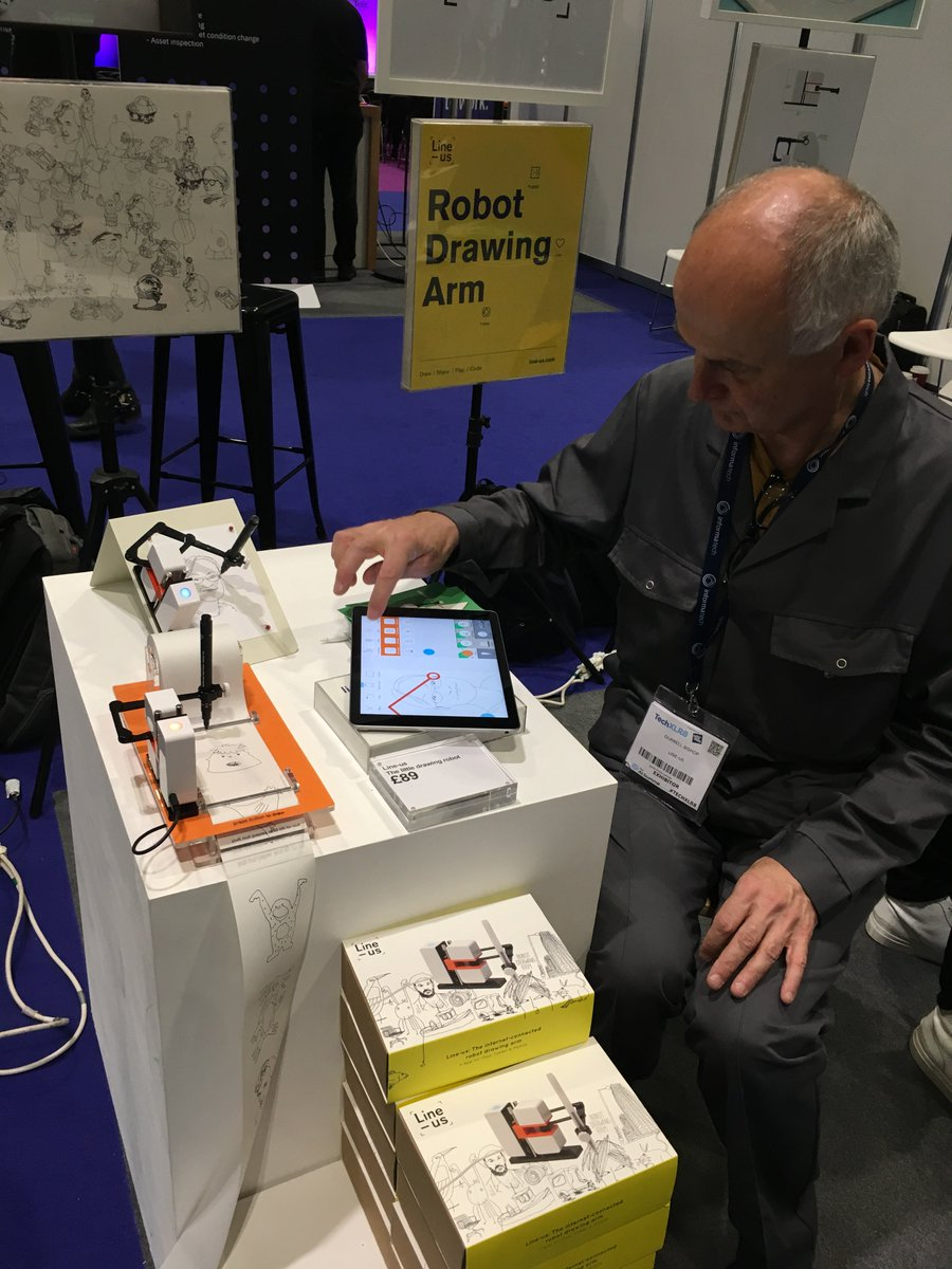 My favourite things from #TechXLR8 last week: the line-us.com IoT robot drawing arm and a small herd of adorable miro-e.com educational robots