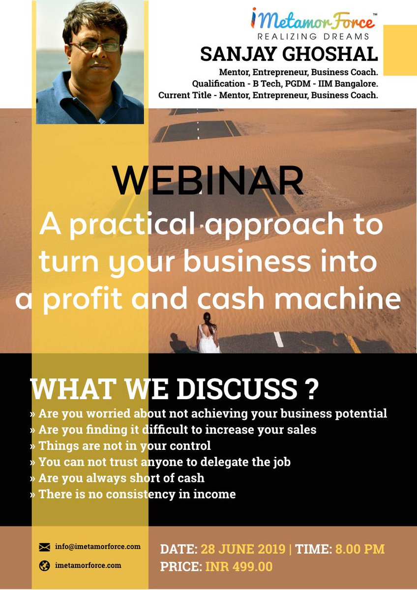 WEBINAR: A PRACTICAL APPROACH TO TURN YOUR BUSINESS INTO PROFIT AND CASH MACHINE Register Now:  http://www. imetamorforce.com/registrationwe b/   …   #webinar #business #marketing #education #businesslife #ecommerce #sales #trading #software #startuplife #educationalresources #startup #smallbusiness<br>http://pic.twitter.com/6pIokr2keZ