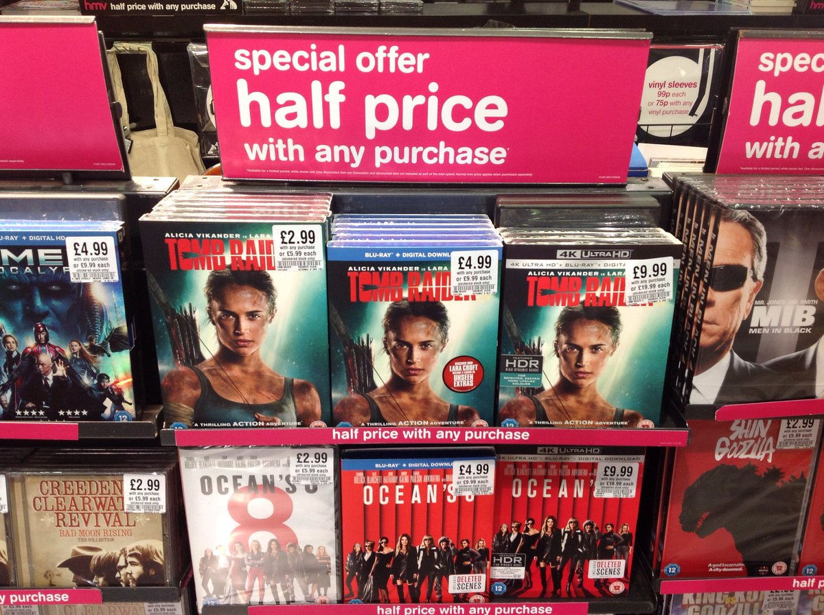 New deals today! Pick up #TombRaider & #Oceans8 for  just £2.99 on DVD, £4.99 on blu-ray & £9.99 on 4K UHD with any purchase <br>http://pic.twitter.com/vCUmpylPon