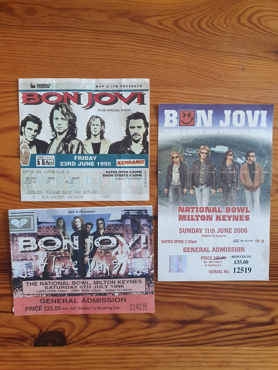 Found my old tix. First time I saw @BonJovi was 24 years ago, 1995. I was 16, it was at Wembley Stadium and my first ever concert and it was MIND BLOWING!!! Cant wait to relive the memories and make new ones on Friday with my sister @misstroddy AT WEMBLEY! #BonJoviMemories