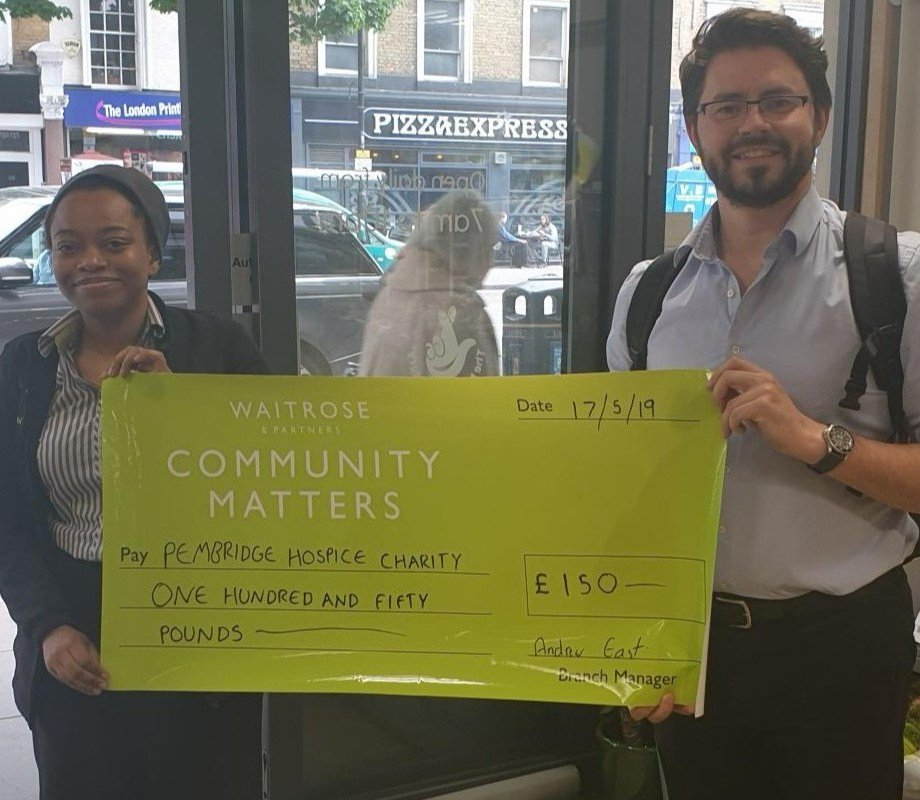 A big thank you to our local Waitrose stores, Notting Hill Gate and West Kensington for their ongoing support through the Community Matters scheme @waitrose #pembridgehospice #waitrose #communitymatters