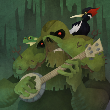 Swamp Thing is only a semi-decent banjo player. I mean, he's no Earl Scruggs! Don't @ me! <br>http://pic.twitter.com/DCu8NJOdNx