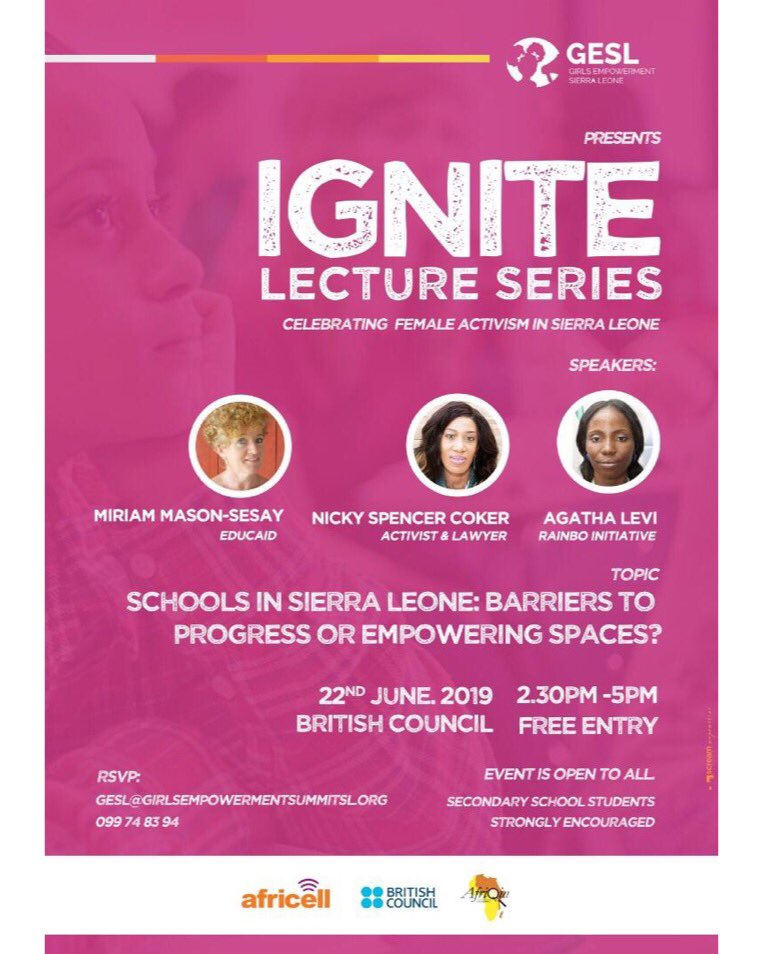 It's happening!  Our Ignite series with @NickyLSC Miriam Sesay of @EducAidSL , Agatha Levi of @RainboCentres is June 22nd! We will be tackling the education system are they safe spaces to empower girls or barriers of progress. Rsvp and see you there! #Ignitegesl #sierraleone