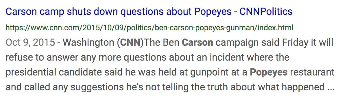 Was reminded this weekend of 2016's best storyline: Ben Carson insisting, despite total lack of evidence, that he tried to -stab a friend when he was 14 -hit his mom with a hammer -tell a gunman at a Popeye's to go rob the cashier instead   Just look at these headlines <br>http://pic.twitter.com/QPnFY5bQuh