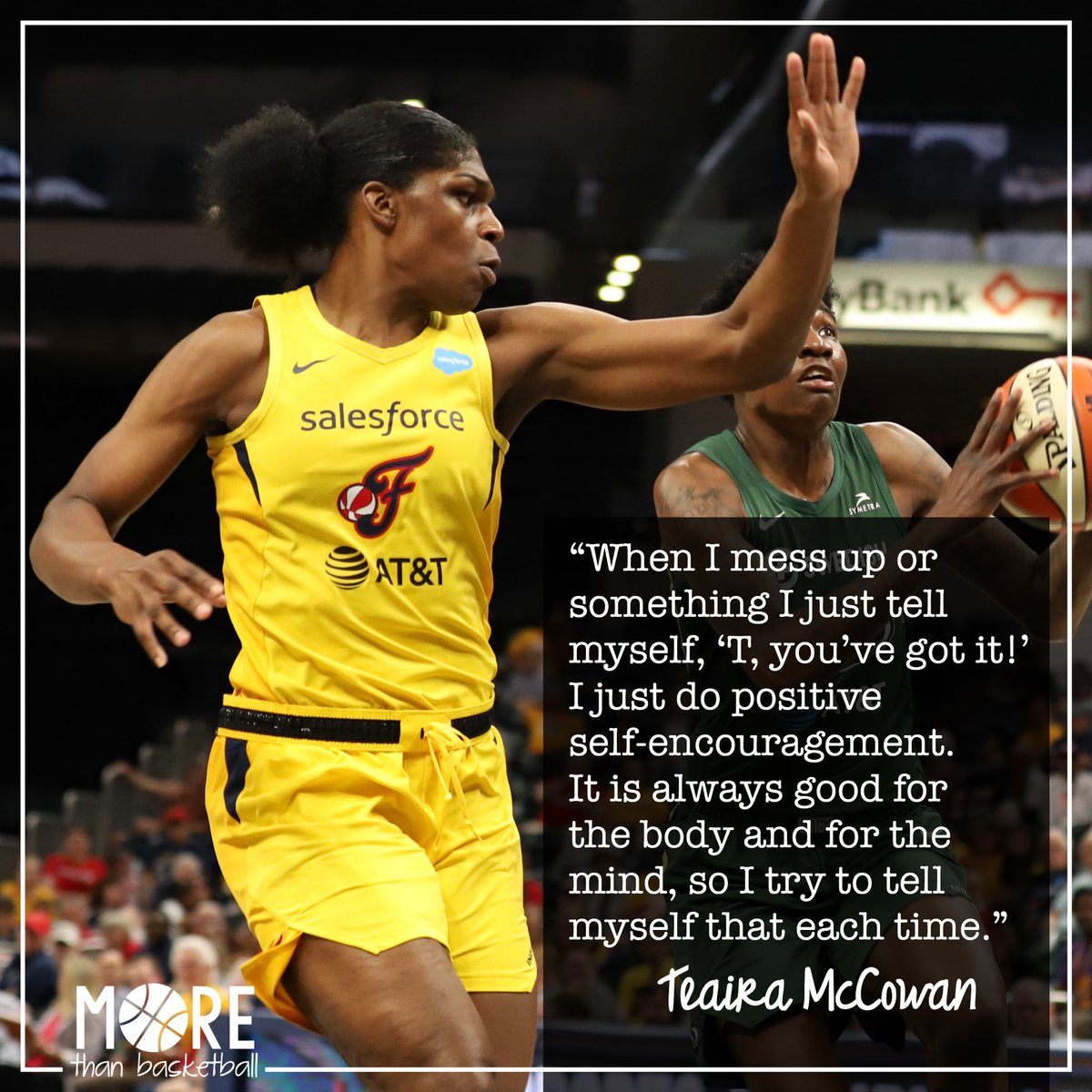 How does @Teaira_15 stay focused in a tough game when things aren't going well? Positive self-talk, one possession at a time. 💪🏾 . #indianafever #fever20 #allforlove