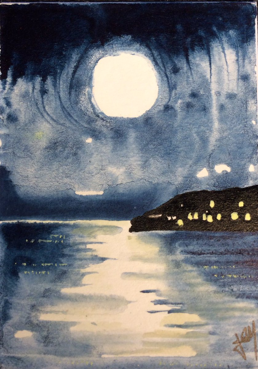 Day 168 of a #miniature a day - #moon over #Newlyn #Cornwall - Inspired by a photo I took #art #ArtistOnTwitter