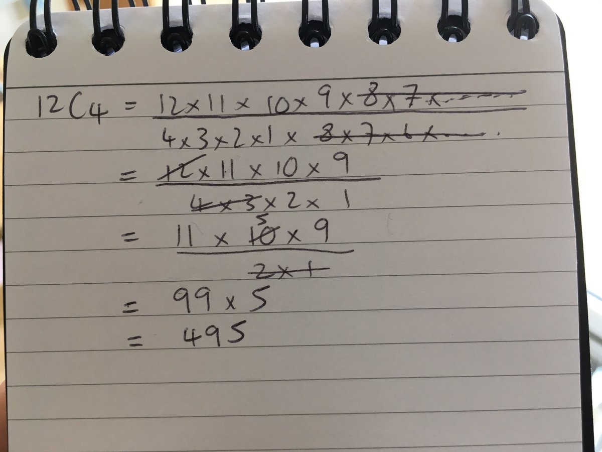 I love doing nCr by hand. It's so soothing. Also deriving the quadratic formula from scratch. What are your favourite bits of 'mathematical mindfulness'? <br>http://pic.twitter.com/3Lj2H5In5x