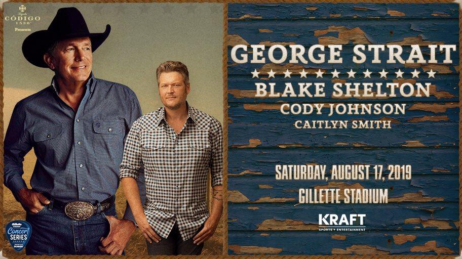 2 months 'til @GeorgeStrait returns to Foxboro with @blakeshelton, @codyjohnson & @caitlynsmith!  🎟: http://bit.ly/GSatGS19