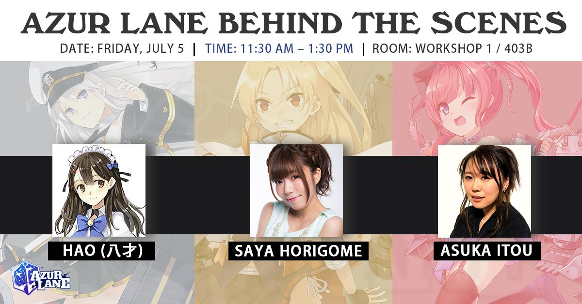 ★Anime Expo Panel Schedule★  Make sure you have your Friday open to join our Azur Lane Behind the Scenes panel as well as the Autograph Session!  You'll get to meet the illustrator Hao (八才) as well as the two voice actresses Saya Horigome and Asuka Itou.  #AzurLane #AX2019<br>http://pic.twitter.com/6QGOZl9bDn