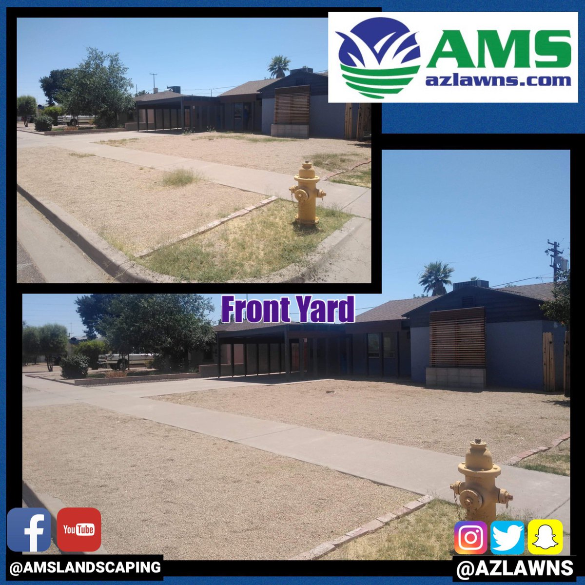 Before and after front yard cleanup. Contact @AMSlandscaping at http://azlawns.com  #beforeandafterpics #cleanup #azlawns #amslandscaping #lawncare #desertlandscaping #landscaping #myyard #azfamily #azcentral #abc15 #fox10phoenix #12newsaz #azrealestate #KeepingYardsEnjoyable