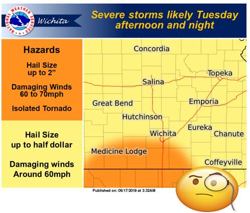 More severe weather on the agenda for tomorrow? Hail and damaging wind could arrive after dark on Tuesday. Some tornado ingredients may be in place, too, especially along the Oklahoma border. Then.....dry for a spell? https://t.co/67QbLecVv4