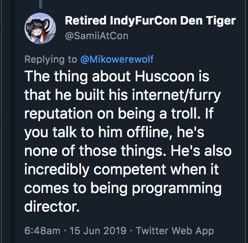 hi the thing about Huscoon is that you can't build your reputation on being a troll and then expect people to see you as anything else, whether IRL or online. This is not 1999, it is 2019; your online persona reflects who you are as a human being. Act accordingly. <br>http://pic.twitter.com/Ridm6Ri9qk