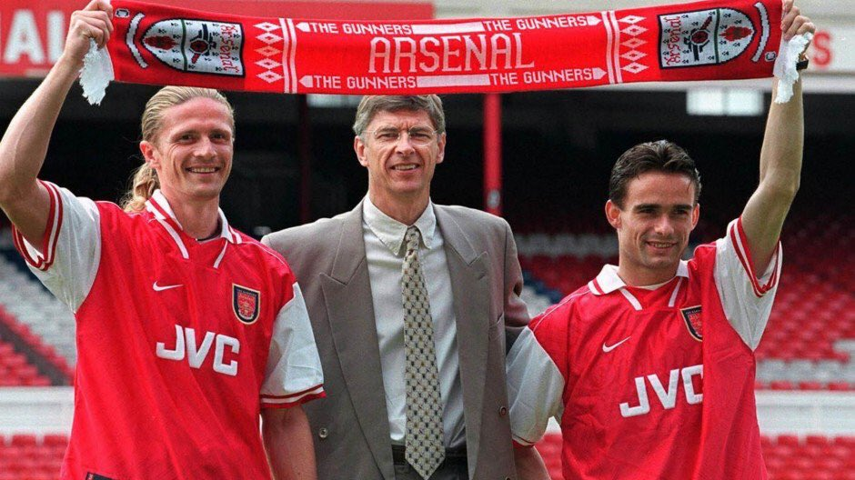 On this day in 1997: Arsenal announced the signings of Emmanuel Petit from Monaco for £3.5m & Marc Overmars from Ajax for £7m. #afc<br>http://pic.twitter.com/suUbfamY3X