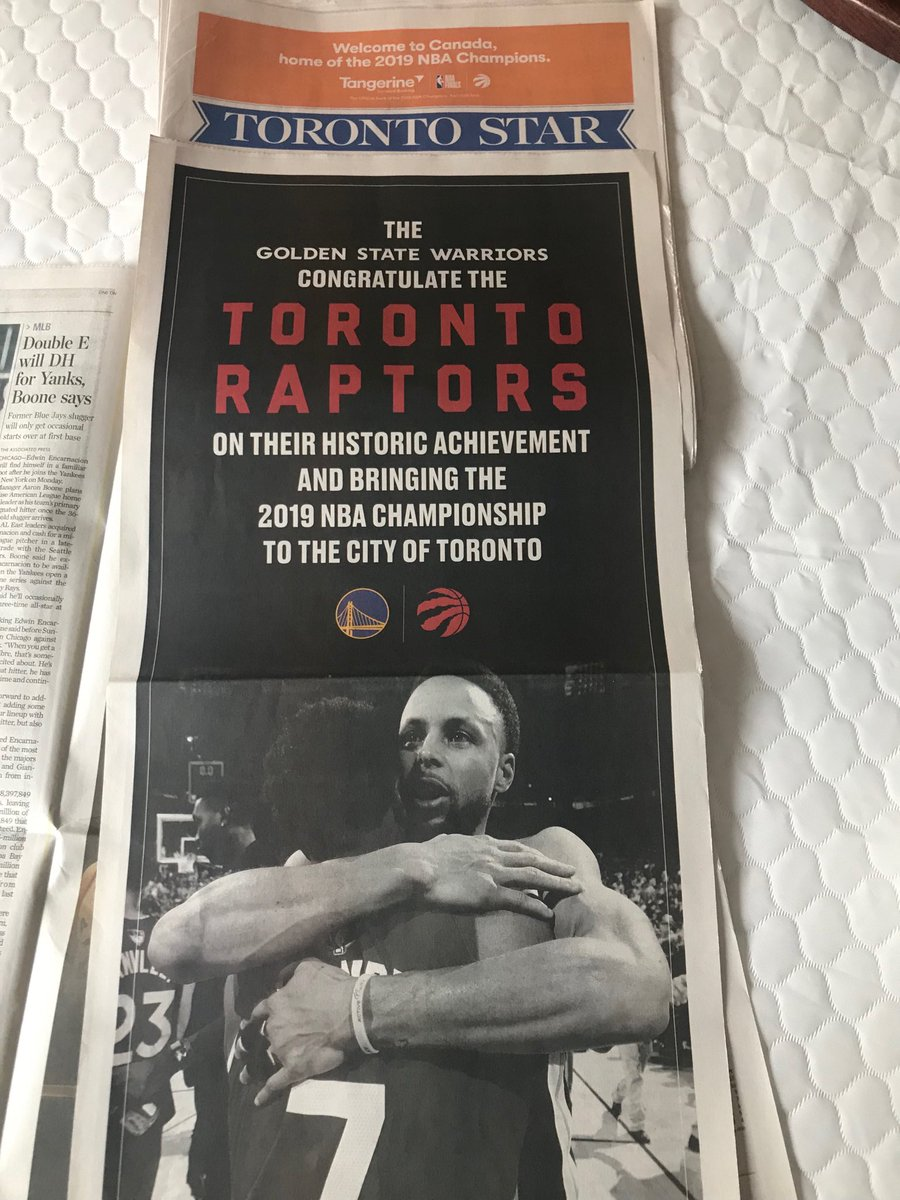Class move from @warriors taking out a full-page ad in Monday's @TorontoStar to wish #Raptors a Mazel Tov on their NBA title. #WeTheNorth