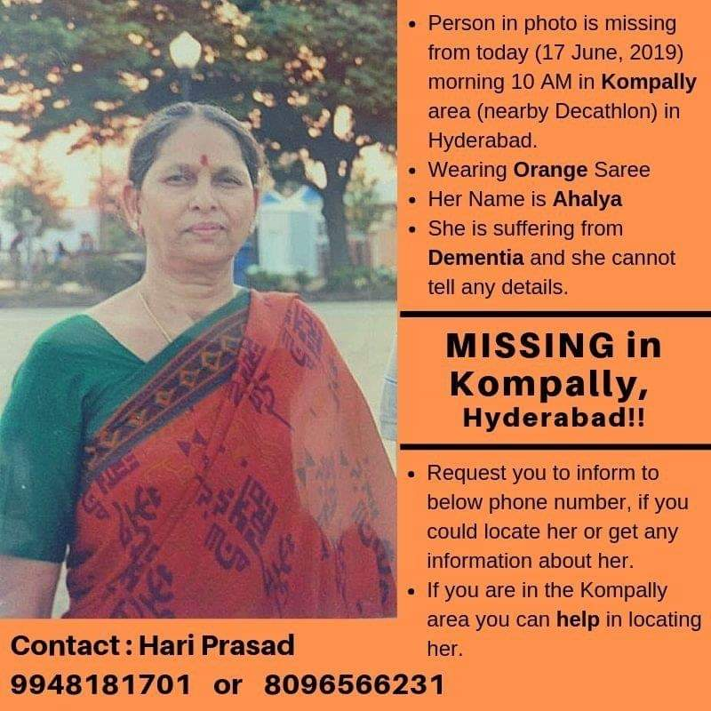If you are in the Kompally area you can help in locating her..  #Kompally #hyderabad #MissingPerson #HelpLocate <br>http://pic.twitter.com/GZzmrJ322M