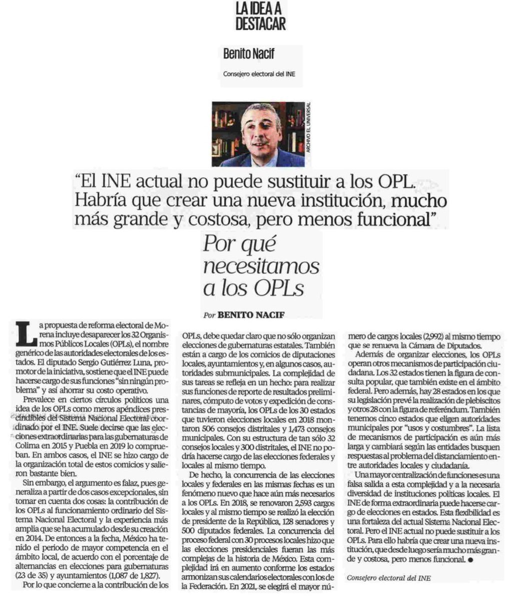 """🖋#ParaLeer """"Por qué necesitamos a los OPLs"""", artículo de @BenitoNacif, publicado en @El_Universal_Mx https://bit.ly/2WLVmvG"""