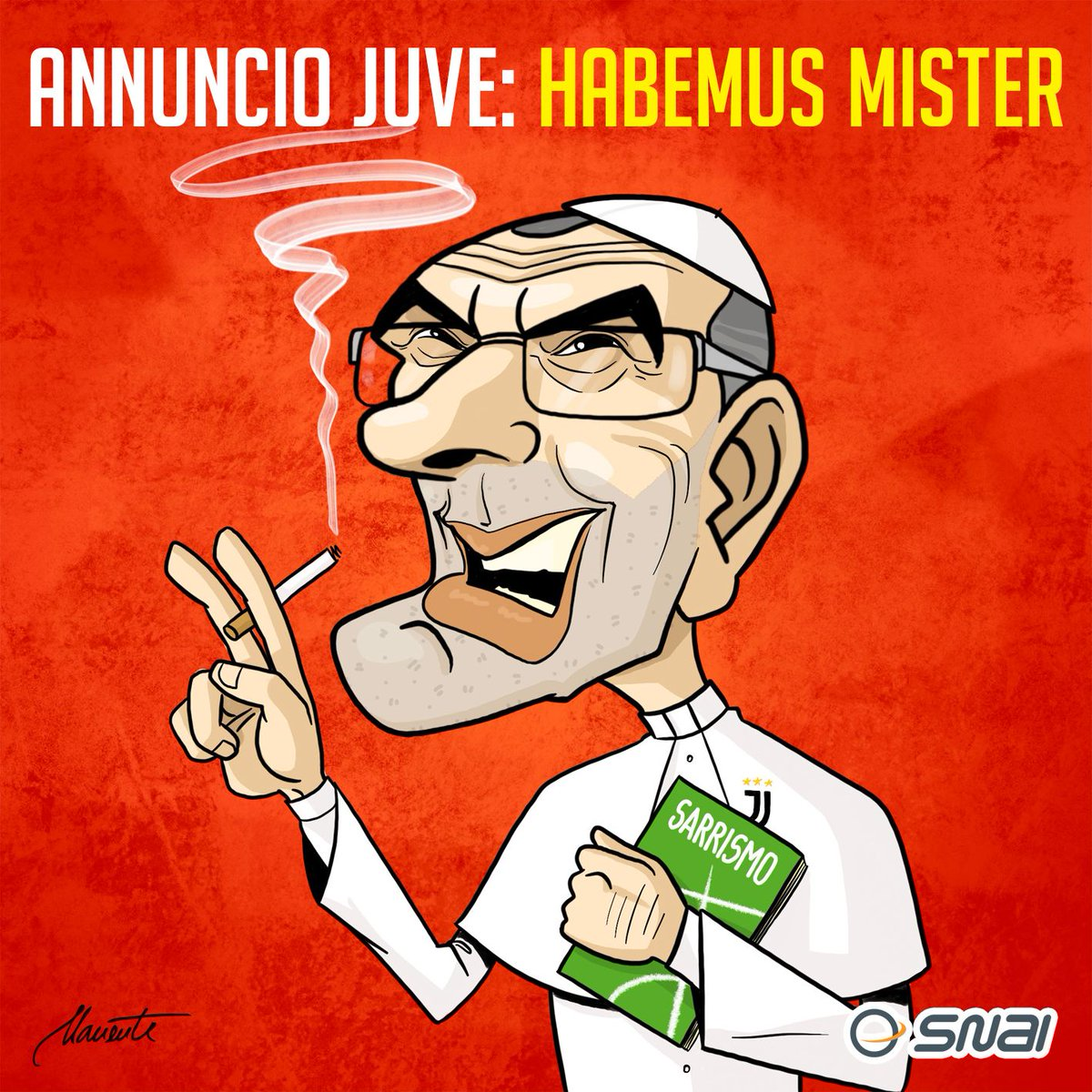 Fumata bianca da Torino: la #Juve annuncia #Sarri. 🌫️◼️ @Gazzetta_it @SkySport @skysportn @DAZN_IT @tackleduro @TopCalcio24 @Sport_Mediaset #calcio #satira #disegno #vignetta #Juventus @juventusfc @sarrismofficial