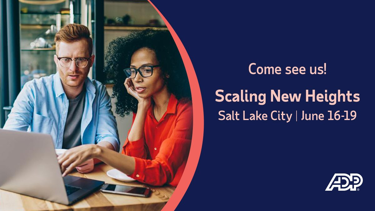 Attending #SNH19 in Salt Lake City? Stop by ADP booth #46 to say hi 👋 and meet our #ProAdvisor friends who are showing our two-way integration with @QuickBooks.