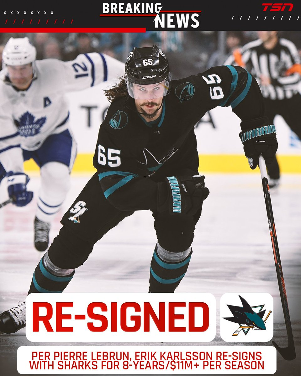 RT @TSN_Sports: UPDATED: Karlsson re-signing with Sharks on eight-year deal.  MORE: https://t.co/roWsGHYf6F https://t.co/DMRv2XbVCI
