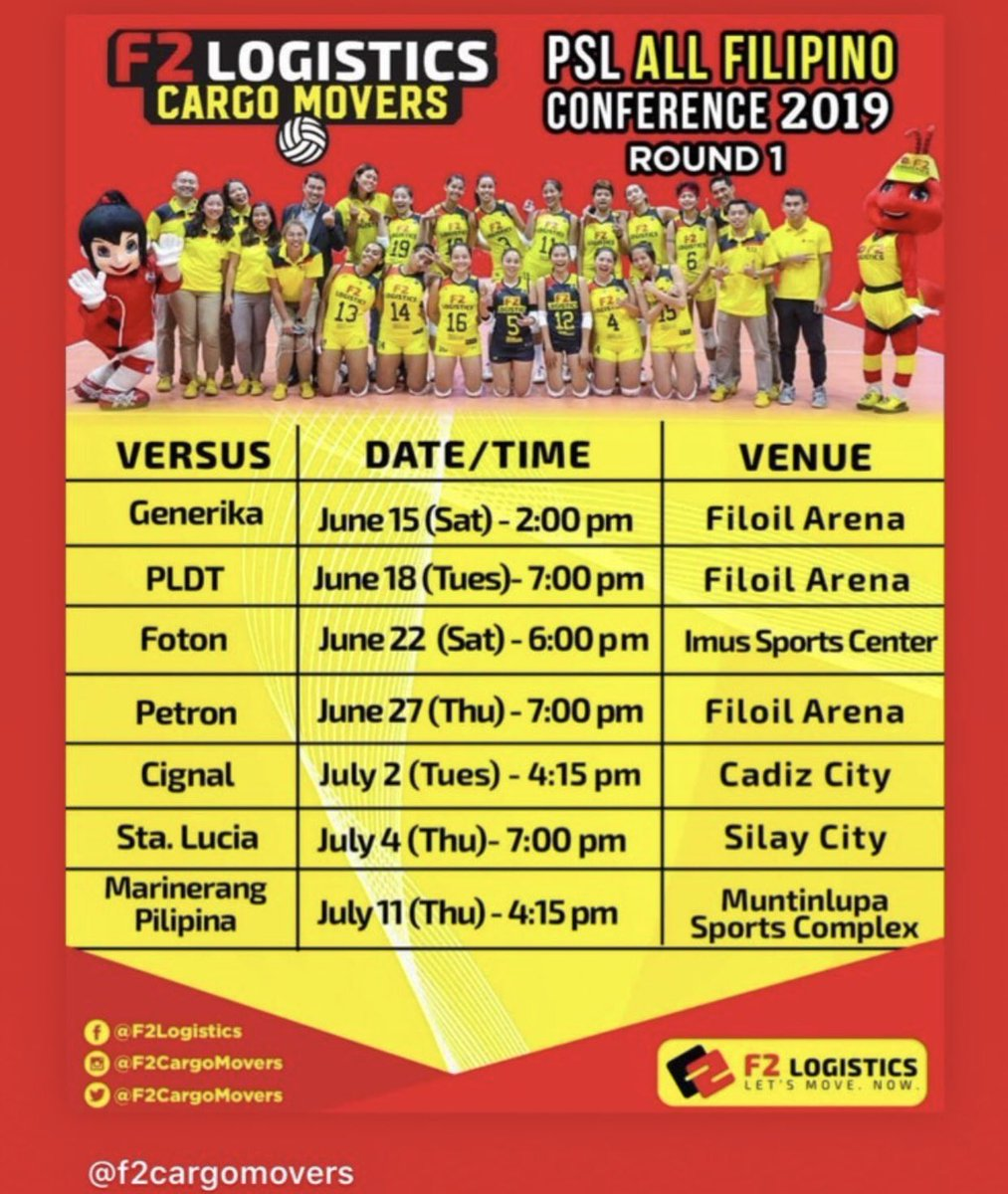 F2 Cargo Movers 1st round Schedule for PSL AFC 2019   #PSLAFC #PSLAFC2019 @SuperLigaPH<br>http://pic.twitter.com/8bM6UF22un