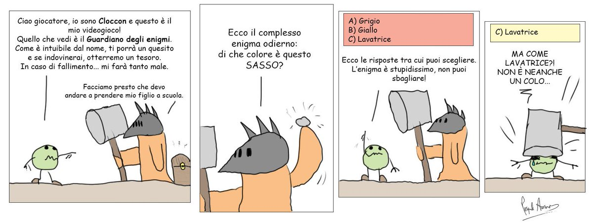#Cloccon contro il Guardiano degli enigmi. Riuscirà a sopravvivere? #humor #fumetto #comic #strip #striscia #disegno #fumetti #vignetta #divertente #umorismo #vignette #comics #sketch #disegnotime #videogame #videogioco @CasaLettori @CasaScrittori