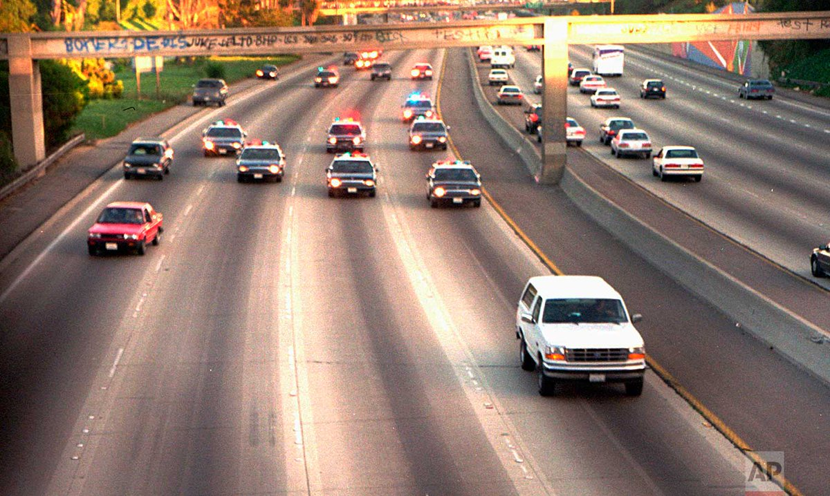 25 years ago today, after leading police on a slow-speed chase on Southern California freeways, O.J. Simpson was arrested and charged with murder in the slayings of his ex-wife, Nicole, and her friend, Ronald Goldman. | Photo Joseph Villarin http://apne.ws/BYTICUu