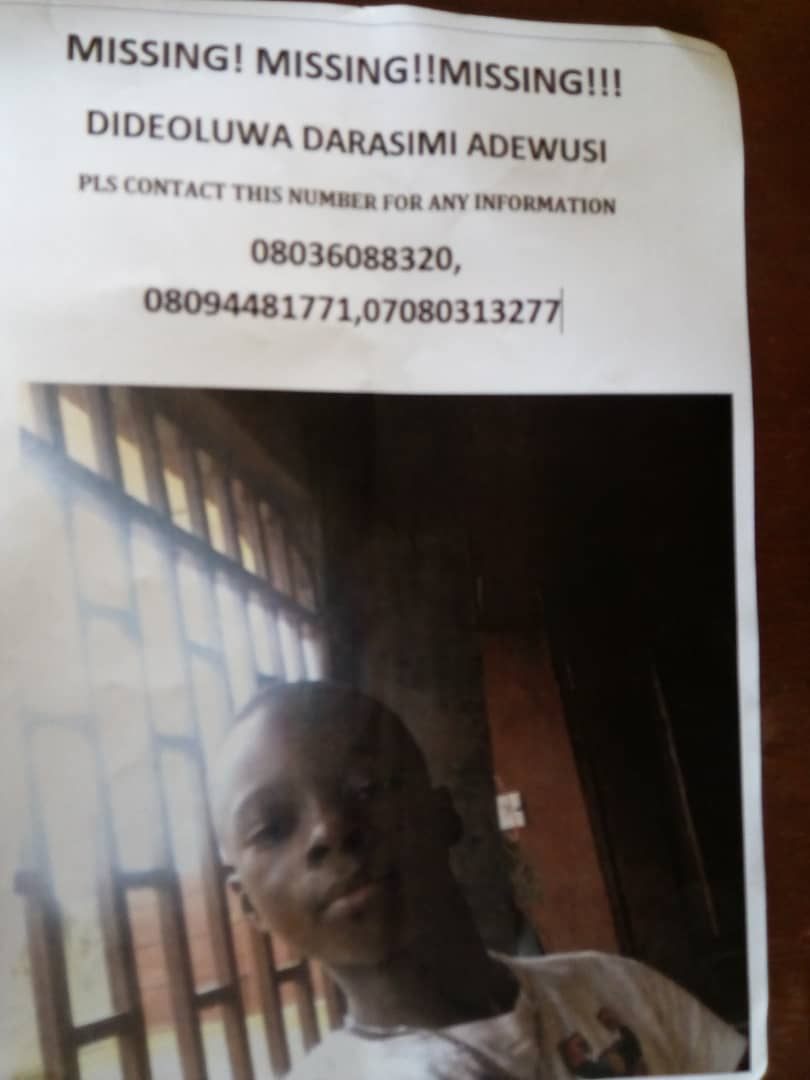Help me look for my 9ys old Nephew. Please retweet. God bless you.