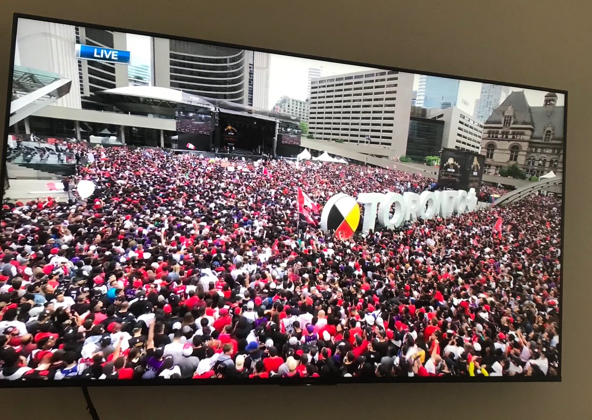"""Several interviews with #Raptors fans during live coverage of #WeTheNorth parade. This is my personal favorite so far. """"I can't wait to see Kawhi, I can't wait to see Lowry and I can't wait to see the Cup!"""" Um, should we tell her?! 🤦♂️😂"""