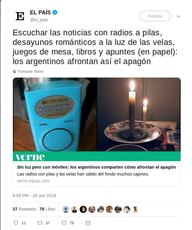 Así te ha contado El País el apagón masivo en Argentina y así te contó el apagón masivo en Venezuela