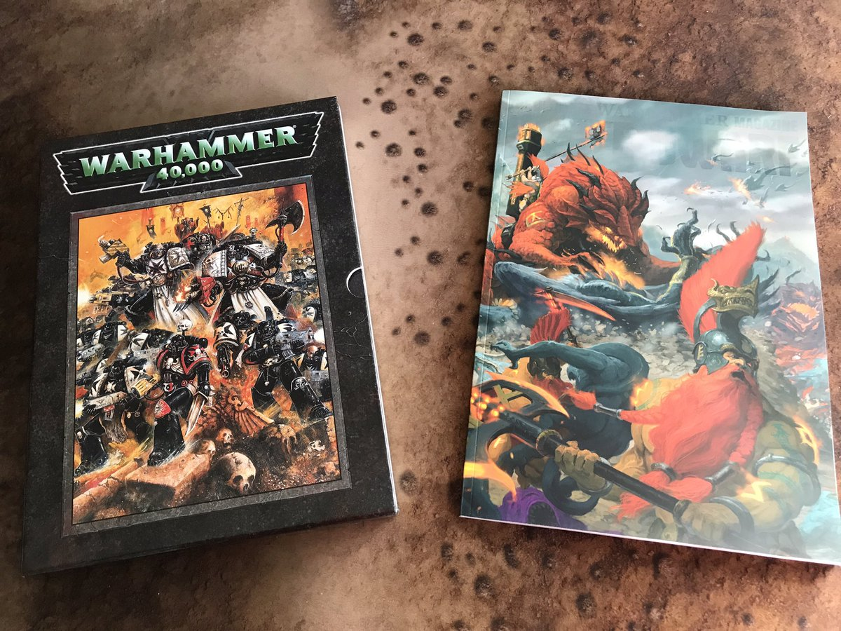 Old with new. The first Warhammer 40k publication I ever purchased next to the latest WD. Feeling sentimental today 😃 #the2pspodcast #warmongers #warhammer #wargaming #tabletopgaming #tabletop #gw #miniatures #gamesworkshop #forgeworld #warhammer40000 #40k #spacemarine