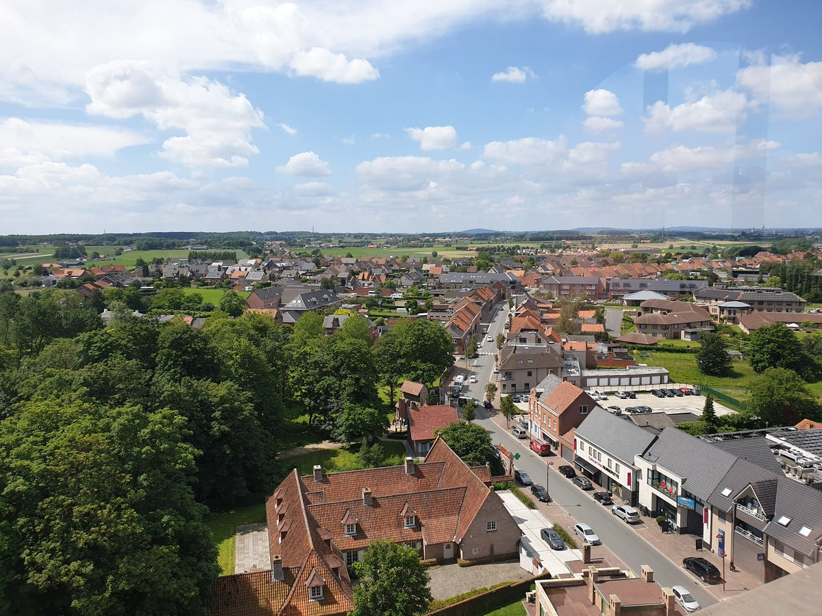View towards Ypres from the top of Zonnebeke church tower. Rather higher up than it looks from the ground! #ww1 <br>http://pic.twitter.com/m6KsZHGDjr