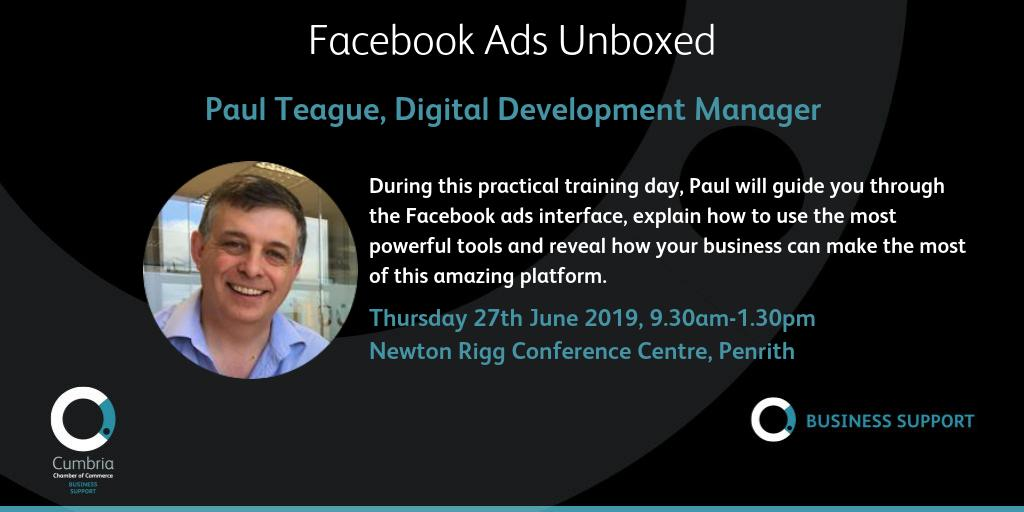 test Twitter Media - Facebook Ads Unboxed workshop with Paul Teague on Thursday 27th June, 9:30 am-1:30 pm at Newton Rigg, Penrith. Workshop details and booking at  https://t.co/pJRCQj9d94 https://t.co/3REbyF6W4t