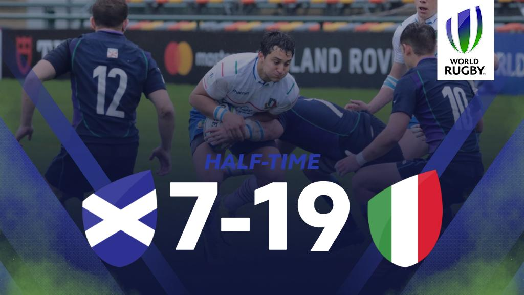 test Twitter Media - It's @Federugby ahead at half-time in this ninth place semi-final with @scotlandteam. The weather delay means the teams are straight into the second half. https://t.co/kAC3md0Tpm