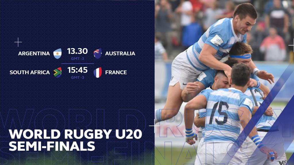 test Twitter Media - After some suspended play due to adverse weather conditions, here are revised kick-off times for both semi-finals at the #WorldRugbyU20s  Semi-final 1: 13.30pm local (GMT -3) Semi-final 2: 15.45pm local (GMT - 3) https://t.co/zw8Ca8DQwp