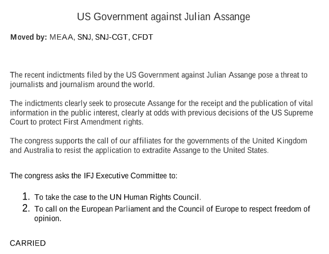 """The International Federation of Journalists (@IFJGlobal) has passed a motion calling on the UK and Australian governments """"to resist the application to extradite Assange to the United States""""  https://www. ifj.org/fileadmin/user _upload/Urgentmotions_IFJCongress_2019.pdf_170619.pdf  … <br>http://pic.twitter.com/IKHB6ja1oq"""