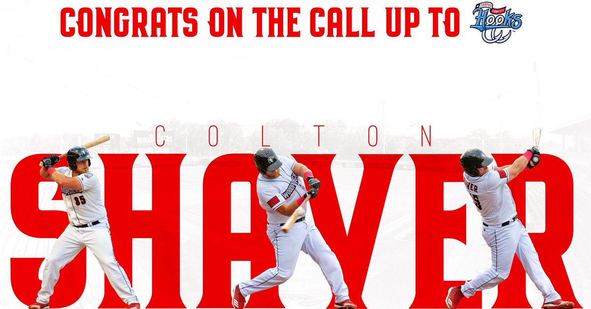Colton Shaver is the next Woodpecker to fly off toward Corpus Christi! Funny enough, that's also where his most recent home run landed after launching out of @SegraStadium.  CONGRATULATIONS @ColtonSshaver on the call up to @cchooks! #TakeFlight <br>http://pic.twitter.com/fJ2lAaTu20