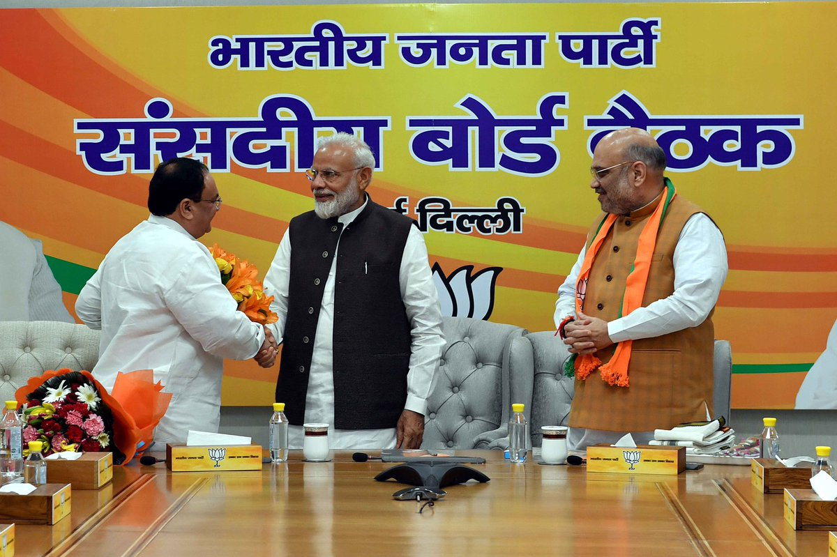 Shri @JPNadda is a diligent Karyakarta of the Party, who has risen through the ranks due to his hardwork and organisational skills. Humble and affable, he is widely respected across the BJP family. Congratulations to him on becoming the Working President of the Party.