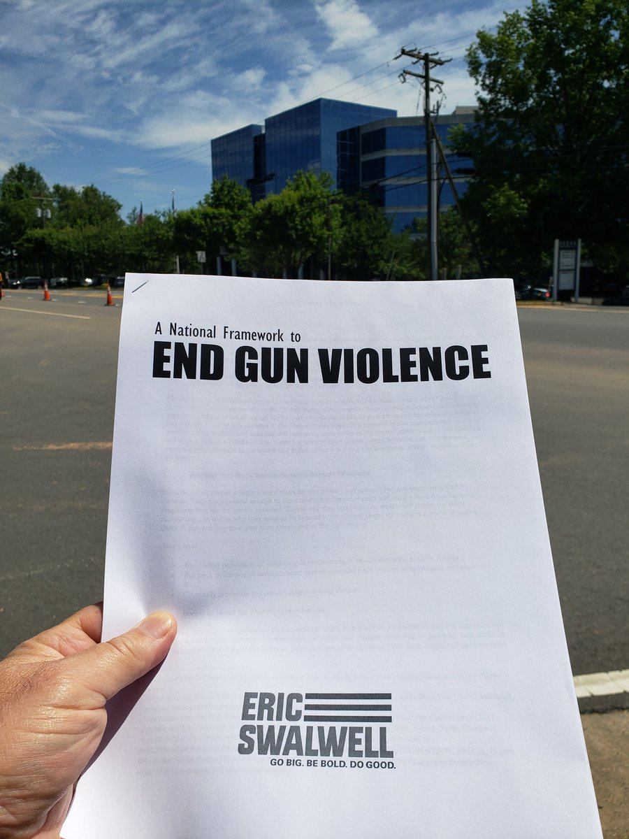 Standing outside NRA headquarters now waiting for @ericswalwell to make his policy announcement on ending gun violence.  Very thankful for the continued efforts by him to make gun safety a centerpiece of his campaign.
